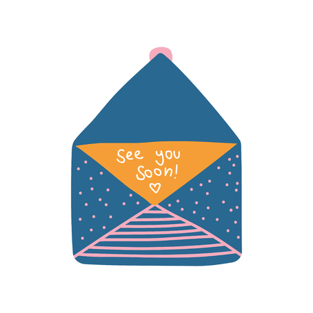 Opened Retro Blue Mail Envelope with See You Soon Letter Vector Illustration on White Background.