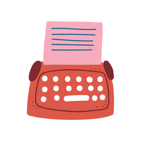 Red Retro Typewriter and Blank Paper Sheet Vector Illustration