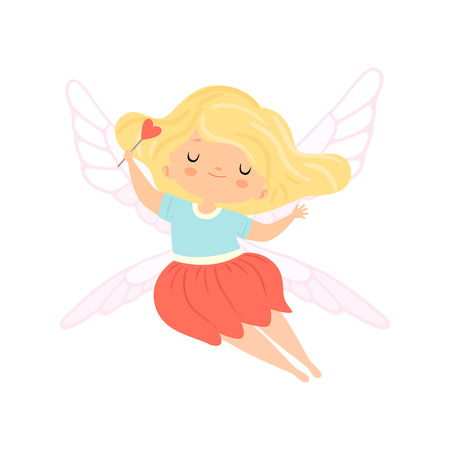 Cute Little Winged Fairy with Blonde Hair, Beautiful Flying Girl Character in Fairy Costume with Magic Wand Vector Illustration