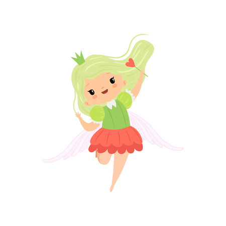Cute Little Winged Fairy with Light Green Hair, Beautiful Girl Princess Character in Fairy Costume with Magic Wand Vector Illustration Illustration