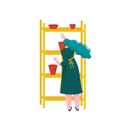 Young Woman Working at Pottery Workshop, Girl Placing Crockery on Shelves, Craft Hobby or Profession Vector Illustration