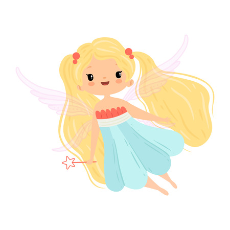Lovely Little Winged Fairy with Blonde Long Hair, Beautiful Flying Girl Character in Fairy Costume with Magic Wand Vector Illustration
