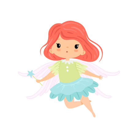 Beautiful Little Winged Fairy, Sweet Flying Girl Character in Fairy Costume with Magic Wand Vector Illustration