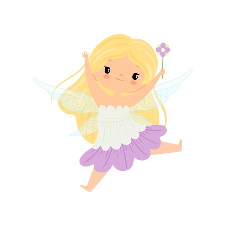 Cute Blonde Little Winged Fairy, Beautiful Flying Girl Character in Fairy Costume with Magic Wand Vector Illustration Illustration
