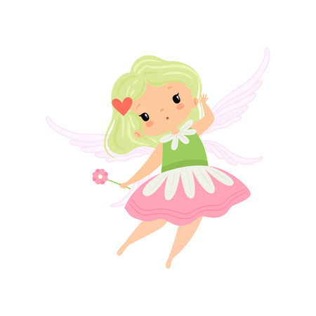Cute Little Winged Fairy, Beautiful Girl Character in Fairy Costume with Magic Wand Vector Illustration on White Background.