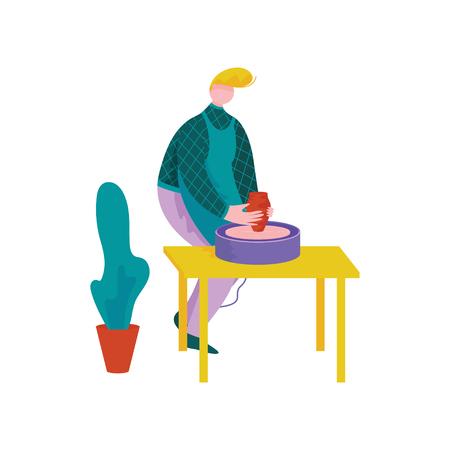 Male Ceramists Making Ceramic Pot at Pottery Workshop, Craft Hobby or Profession Vector Illustration on White Background.