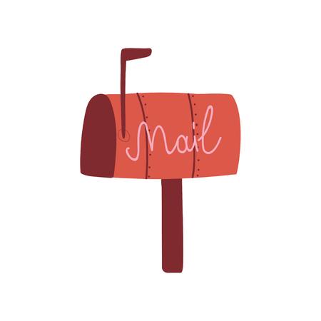 Red Mail Box, Post Office Box illustrazione vettoriale su sfondo bianco.