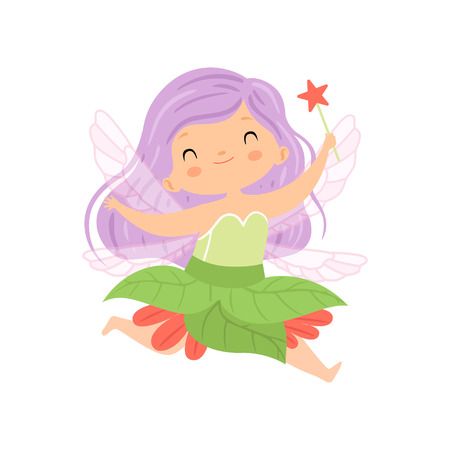 Sweet Little Winged Fairy Flying with Lilac Hair and Magic Wand, Beautiful Redhead Girl Character in Fairy Costume Vector Illustration on White Background.