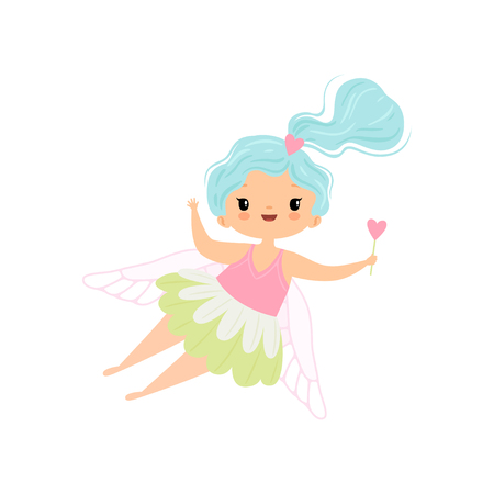 Lovely Little Winged Fairy with Light Blue Long Hair, Beautiful Flying Girl Character in Fairy Costume with Magic Wand Vector Illustration on White Background. Illustration
