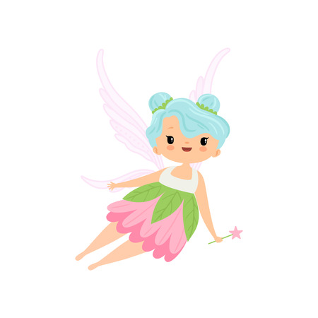 Cute Little Winged Fairy Flying with Magic Wand, Beautiful Girl Character in Fairy Costume Vector Illustration on White Background.