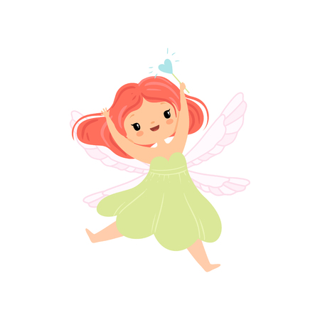 Cute Little Winged Fairy Flying with Magic Wand, Beautiful Redhead Girl Character in Fairy Costume Vector Illustration on White Background. Illustration