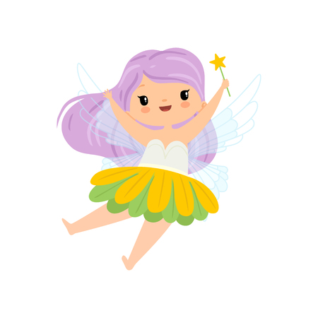 Lovely Little Winged Fairy with Long Lilac Hair, Beautiful Flying Girl Character in Fairy Costume with Magic Wand Vector Illustration on White Background.