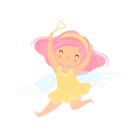 Lovely Little Winged Fairy with Pink Hair, Beautiful Girl Character in Fairy Costume with Magic Wand Vector Illustration on White Background.