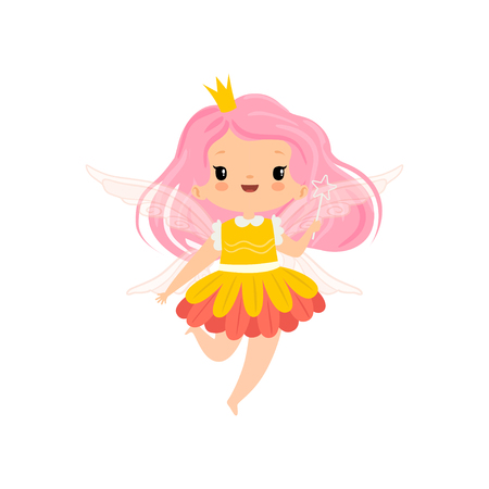 Sweet Little Winged Fairy with Pink Long Hair, Beautiful Girl Character in Fairy Costume with Magic Wand Vector Illustration on White Background.