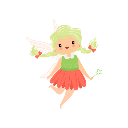 Cute Little Winged Fairy with Braids, Lovely Flying Girl Character in Fairy Costume with Magic Wand Vector Illustration on White Background.