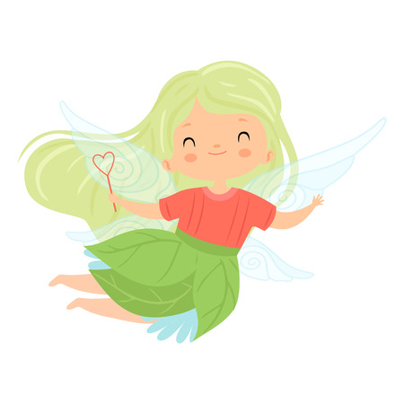 Sweet Little Winged Fairy with Green Long Hair, Cute Flying Girl Character in Fairy Costume with Magic Wand Vector Illustration on White Background.