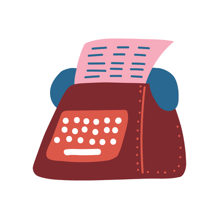 Retro Typewriter and Pink Blank Paper Sheet Vector Illustration on White Background.