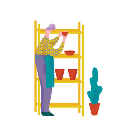 Male Ceramists Working at Pottery Workshop, Man Placing Crockery on Shelves, Craft Hobby or Profession Vector Illustration on White Background.