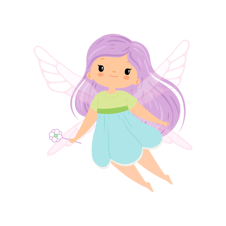 Cute Little Winged Fairy with Long Lilac Hair, Beautiful Flying Girl Character in Fairy Costume with Magic Wand Vector Illustration on White Background. Illustration