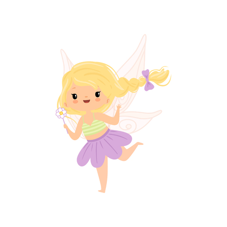 Lovely Little Winged Fairy with Blonde Hair, Beautiful Flying Girl Character in Fairy Costume with Magic Wand Vector Illustration on White Background.