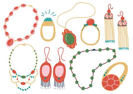 Colección de accesorios de joyería, collar, pendientes, colgante, perlas, anillo ilustración vectorial sobre fondo blanco.
