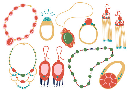 Collection of Jewelry Accessories, Necklace, Earrings, Pendant, Beads, Ring Vector Illustration on White Background Çizim