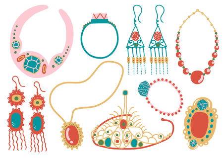 Collection of Jewelry Accessories, Necklace, Earrings, Pendant, Tiara Vector Illustration on White Background.