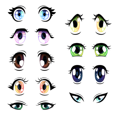 Collection of Bright Eyes of Different Colors, Beautiful Eyes with Light Reflections Manga Japanese Style Vector Illustration on White Background. Illustration