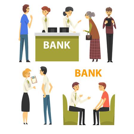Clients consultant les gestionnaires au bureau de la banque, illustration vectorielle du service bancaire sur fond blanc.