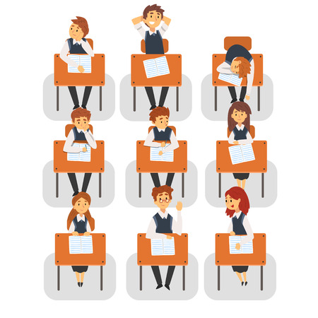 Students Sitting at Desks in Classroom, Front View, University or College Lesson Vector Illustration on White Background.