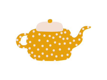 Cute Polka Dot Teapot with Spout, Ceramic Crockery Vector Illustration on White Background.