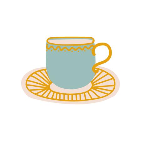 Ceramic Cup and Saucer, Cute Ceramic Crockery Cookware Vector Illustration Vecteurs