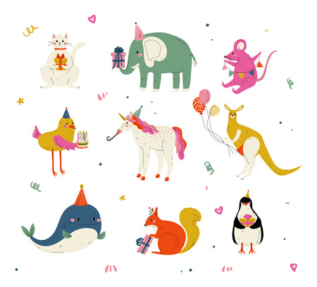 Cute Animals Wearing Party Hats with Birthday Cakes and Gift Boxes Set, Cute Cat, Elephant, Mouse, Chicken, Kangaroo, Whale, Squirrel, Penguin Characters for Happy Birthday Design Vector Illustration on White Background.