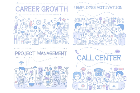 Career Growth, Employee Motivation, Project Management, Call Center Hand Drawn Vector Illustration on White Background.