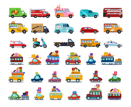 Cute City Transport Set, Colorful Childish Cars and Vehicles Vector Illustration on White Background. Vettoriali