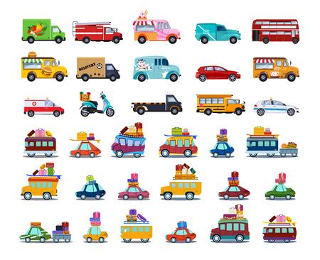 Leuke stadsvervoerset, kleurrijke kinderachtige auto's en voertuigen vectorillustratie op witte achtergrond.
