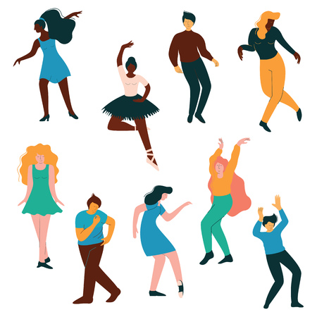 People Dancing Set, Men and Women Dancer Performing Classical and Modern Dance Vector Illustration on White Background. 向量圖像