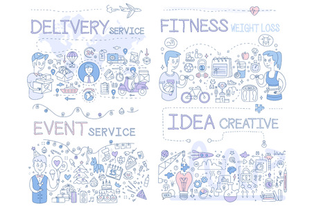 Delivery Service, Fitness Weight Loss, Event Service, Idea Creative Hand Drawn Vector Illustration