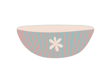 Bowl Dishware, Cute Ceramic Crockery Cookware Vector Illustration on White Background.
