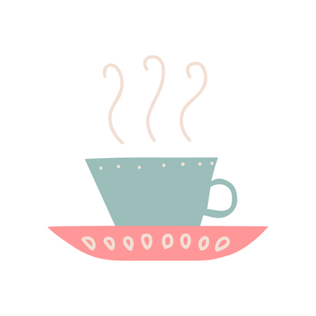 Ceramic Cup with Hot Tea or Coffee and Saucer, Cute Ceramic Crockery Vector Illustration on White Background.