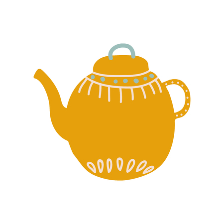 Cute Orange Teapot with Spout Ceramic Crockery Vector Illustration on White Background.