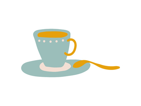 Light Blue Ceramic Cup and Saucer, Cute Ceramic Crockery Vector Illustration on White Background.