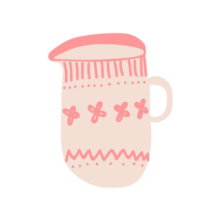 Creamer, Milk Jug for Cofee or Tea, Cute Ceramic Crockery Cookware Vector Illustration on White Background. Illustration