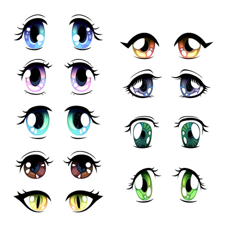 Cute Bright Eyes of Different Colors Set, Beautiful Eyes with Light Reflections Manga Japanese Style Vector Illustration on White Background. Vector Illustration