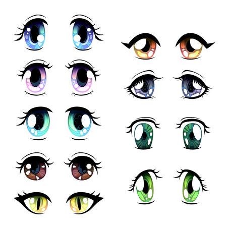 Niedliche helle Augen in verschiedenen Farben eingestellt, schöne Augen mit Lichtreflexionen Manga im japanischen Stil Vektor-Illustration auf weißem Hintergrund. Vektorgrafik