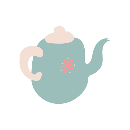 Cute Light Blue Teapot with Spout, Ceramic Crockery Cookware Vector Illustration on White Background. Imagens - 124687873