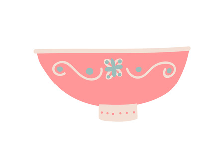 Cute Bowl Dishware, Ceramic Crockery Vector Illustration on White Background.