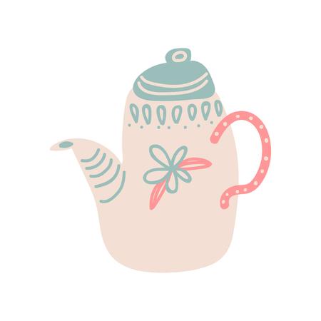 Cute Ceramic Teapot with Spout Vector Illustration