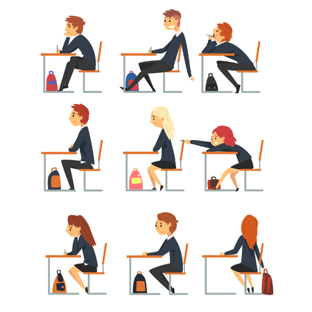 Students Sitting at Desks in Classroom, Side View, Pupils Studying at School, College or University Vector Illustration on White Background.