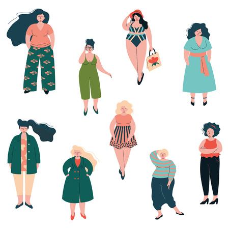 Hermoso conjunto de mujeres curvas de talla grande, chicas regordetas vestidas con ropa elegante ilustración vectorial